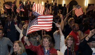 Supporters cheer while watching president-elect Donald Trump's acceptance speech on television at the Colorado Republican election night party Tuesday, Nov. 8, 2016, in Greenwood Village, Colo. (AP Photo/Jack Dempsey) ** FILE **