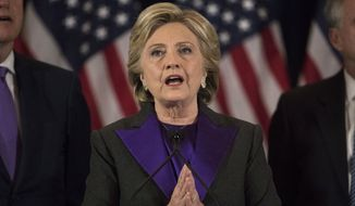 Democratic presidential candidate Hillary Clinton speaks in New York, Wednesday, Nov. 9, 2016, where she conceded her defeat to Republican Donald Trump after the hard-fought presidential election. (AP Photo/Matt Rourke)