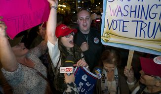 Supporters of Republican president-elect Donald Trump chant on 6th Ave. in New York Wednesday, Nov. 9, 2016. (AP Photo/Craig Ruttle)