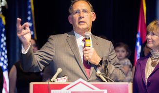 Sen. John Boozman speaks to the crowd of supporters at his victory party on Tuesday, Nov. 8, 2016 in Little Rock, Ark. (AP Photo/ Gareth Patterson)