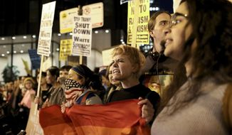 Protesters rally outside the Trump International Hotel and Tower, Wednesday, Nov. 9, 2016 in Chicago, Ill.,  in opposition of Donald Trump's presidential election victory. (Armando L. Sanchez/Chicago Tribune via AP)
