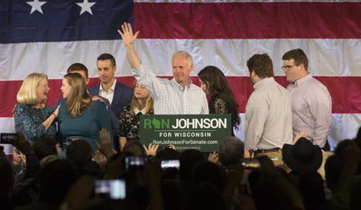 Sen. Ron Johnson, R-Wis., thanks his supporters at an election night gathering after defeating challenger Russ Feingold, Tuesday, Nov. 8, 2016, in Oshkosh, Wis. Johnson unseated Feingold six years ago. (Mark Hoffman/Milwaukee Journal Sentinel via AP)