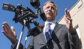 Gov. Bill Haslam speaks to reporters in Nashville, Tenn., on Wednesday, Nov. 9, 2016, about the presidential election results. Haslam said he is hoping for strong relations with Donald Trump's administration despite the Republican governor's public rejection of the GOP nominee during the campaign. (AP Photo/Erik Schelzig)