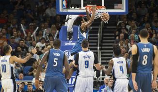 Minnesota Timberwolves forward Andrew Wiggins (22) dunks against the Orlando Magic during the first half of an NBA basketball game in Orlando, Fla., Wednesday, Nov. 9, 2016. (AP Photo/Willie J. Allen Jr.)