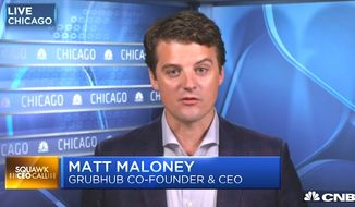 "Matt Maloney, Grubhub co-founder and CEO, sent an anti-Trump email to employees after the Nov. 8, 2016, presidential election and said those who disagree with him have ""no place"" at the company. (CNBC screenshot)"