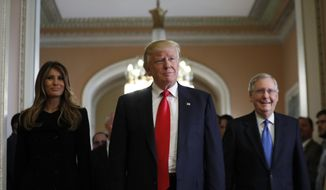 President-elect Donald Trump and his wife Melania walk with Senate Majority Leader Mitch McConnell of Ky. on Capitol Hill, Thursday, Nov. 10, 2016, after a meeting. (AP Photo/Alex Brandon)