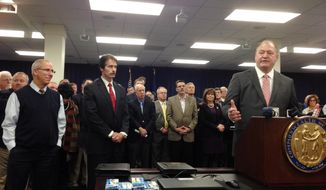 """State Rep. Jeff Hoover, right, addresses the media after his Republican colleagues selected him as the next House speaker Thursday, Nov. 10, 2016, in Frankfort, Ky. Hoover called his unanimous selection the """"highest honor"""" of his life. (AP Photo/Bruce Schreiner)"""