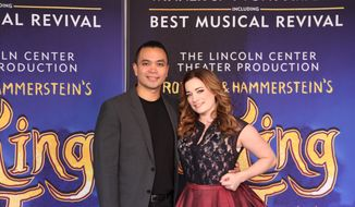 "This Oct. 18, 2016 photo, Jose Llana, left, and Laura Michelle Kelly appear in New York. Llana will star as the king of Siam, and Laura Michelle Kelly as Anna in the national tour of the Rodgers and Hammerstein classic ""The King and I."" (AP Photo/Mark Kennedy)"