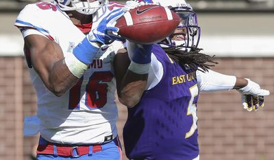 SMU's Courtland Sutton catches a touchdown pass in front of East Carolina's Corey Seargent  during the first half of an NCAA college football game, Saturday, Nov. 12, 2016, at Dowdy-Ficklen Stadium in Greenville, N.C.  ( Rhett Butler/The Daily Reflector via AP)