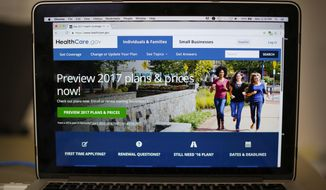 In this Oct. 24, 2016, file photo, the HealthCare.gov 2017 web site home page is seen on a laptop in Washington. President-elect Donald Trump has said he may keep some parts of his predecessor's signature health care overhaul. No final decisions have been made. (AP Photo/Pablo Martinez Monsivais, File)