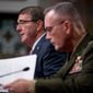 """Defense Secretary Ashton Carter and Gen. Joseph Dunford, chairman of the Joint Chiefs of Staff, disagree on some of the Obama administration's policies for the military. Rep. Duncan Hunter is calling for a reversal of women in the infantry, open transgender troops and the near-banishment of the word """"man"""" in titles. (Associated Press)"""