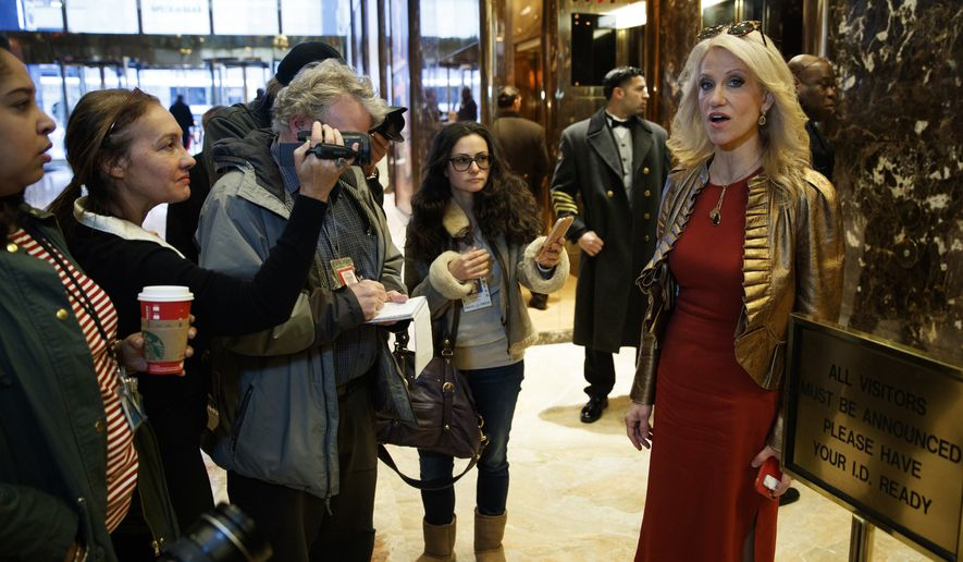 Kellyanne Conway, campaign manager and senior adviser to President-elect Donald Trump, talks with reporters as she arrives at Trump Tower, Sunday, Nov. 13, 2016, in New York. (AP Photo/ Evan Vucci)
