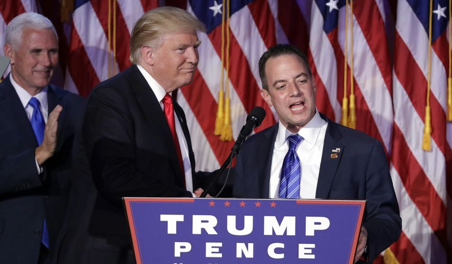 FILE - In this Wednesday, Nov. 9, 2016, file photo, President-elect Donald Trump, left, stands with Republican National Committee Chairman Reince Priebus during an election night rally in New York. Trump on Sunday named Priebus as his White House chief of staff. (AP Photo/John Locher, File)
