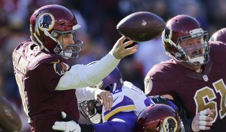 Washington Redskins quarterback Kirk Cousins (8) passes the ball under pressure during the first half of an NFL football game against the Washington Redskins in Landover, Md., Sunday, Nov. 13, 2016. (AP Photo/Mark Tenally)