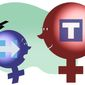 Illustration on the gender gap in terms of education by Alexander Hunter/The Washington Times
