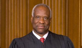 Supreme Court Justice Clarence Thomas delivers a keynote address at a Federalist Society gathering on Thursday. (Supreme court)