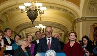 Sen. Charles E. Schumer (center), New York Democrat and newly selected Senate minority leader, and House Minority Leader Nancy Pelosi (right) will attempt to reinvigorate their party after a stunning loss to Donald Trump last week, and likely will listen more to liberal voices like Bernard Sanders. (Associated Press)