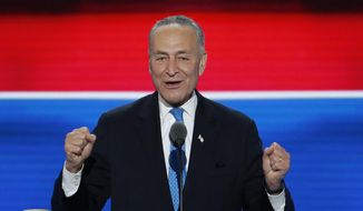 In this July 26, 2016, file photo, Sen. Chuck Schumer, D-NY., speaks during the second day of the Democratic National Convention in Philadelphia. (AP Photo/J. Scott Applewhite, File)