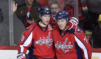 Washington Capitals center Nicklas Backstrom (19), of Sweden, celebrates his goal with T.J. Oshie, right, during the third period of an NHL hockey game against the Pittsburgh Penguins, Wednesday, Nov. 16, 2016, in Washington. The Capitals won 7-1. (AP Photo/Nick Wass)