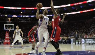 Philadelphia 76ers' Jahlil Okafor in action during an NBA basketball game against the Washington Wizards, Wednesday, Nov. 16, 2016, in Philadelphia. (AP Photo/Matt Slocum)