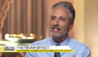 "Former talk show host Jon Stewart slammed the ""hypocrisy"" of the Left for supposedly rejecting stereotypes while painting Donald Trump voters as racist. (CBS)"