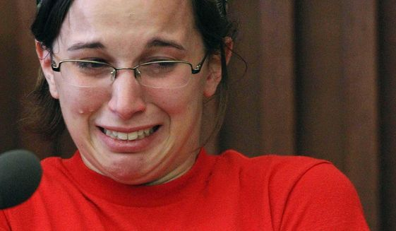 "FILE -  In this Wednesday, June 4, 2014 file photo, Kathryn McDonough breaks down crying, when asked how she felt after telling jurors how she pushed Elizabeth ""Lizzi"" Marriott's body into the water and covered it with seaweed during testimony in Strafford County Superior Court in Dover, N.H. McDonough testified against her former boyfriend Seth Mazzaglia, who was convicted of killing Marriott and sentenced to life without parole. McDonough's three-year prison sentence comes to an end Saturday, July 16, 2016, when she will be released. (AP Photo Jim Cole, File)"