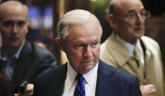 In this Nov. 15, 2016, file photo, Sen. Jeff Sessions, R-Ala., arrives at Trump Tower in New York. (AP Photo/Carolyn Kaster, File)