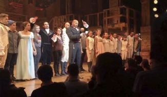 "In this image made from a video provided by Hamilton LLC, actor Brandon Victor Dixon who plays Aaron Burr, the nations third vice president, in ""Hamilton"" speaks from the stage after the curtain call in New York, Friday, Nov. 18, 2016. Vice President-elect Mike Pence is the latest celebrity to attend the Broadway hit ""Hamilton,"" but the first to get a sharp message from a cast member from the stage. (Hamilton LLC via AP)"
