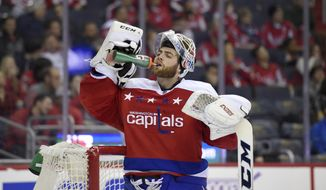 Washington Capitals goalie Braden Holtby (70) takes a drink during the second period of an NHL hockey game against the Detroit Red Wings, Friday, Nov. 18, 2016, in Washington. (AP Photo/Nick Wass)
