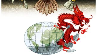 Illustration on U.S. response to China's belligerence by Alexander Hunter/The Washington Times