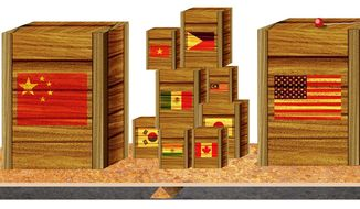 Illustration on free trade in light of China by Alexander Hunter/The Washington Times