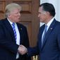 President-elect Donald Trump's transition team has floated Mitt Romney's name as secretary of state, and the two men met privately over the weekend in New Jersey. (Associated Press)