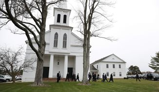 President-elect Donald Trump, Vice President-elect Mike Pence and his daughter Charlotte, Kellyanne Conway, and Incoming White House Chief of Staff Reince Priebus, walk from Lamington Presbyterian Church in Bedminster, N.J., Sunday, Nov. 20, 2016, in Bedminster, after attending services. (AP Photo/Carolyn Kaster)
