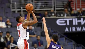Washington Wizards guard Bradley Beal scored a career-high 42 points on 22 shots on Monday against the Phoenix Suns. (Associated Press)
