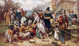 The First Thanksgiving, 1621 by J.L.G. Ferris