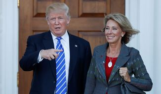 The selection of Betsy DeVos to run the Department of Education was likely an easy call for President-elect Donald Trump, who during the campaign regularly championed school choice and the charter school movement, giving a nod to school choice when announcing his pick. (Associated Press)