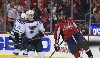 Washington Capitals left wing Alex Ovechkin, right, of Russia, celebrates his goal, near St. Louis Blues' Dmitrij Jaskin (23) and Vladimir Tarasenko, center, both of Russia, during the third period of an NHL hockey game, Wednesday, Nov. 23, 2016, in Washington. (AP Photo/Nick Wass)