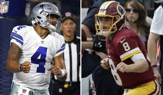 FILE - At left, in an Oct. 30, 2016, file photo, Dallas Cowboys quarterback Dak Prescott (4) celebrates after scoring on a running play in the first half of an NFL football game against the Philadelphia Eagles, in Arlington, Texas. At right, in an Oct. 2, 2016, file photo,  Washington Redskins quarterback Kirk Cousins (8) celebrates after a touchdown during the first half of an NFL football game against the Cleveland Browns, in Landover, Md. Cousins was rolling the last time the Washington quarterback visited Dallas with Tony Romo sidelined, just as he is this year. The Cowboys have an answer this time in rookie Dak Prescott. (AP Photo/File)
