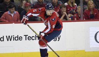 Washington Capitals left wing Andre Burakovsky (65) skates with the puck during the first period of an NHL hockey game against the St. Louis Blues, Wednesday, Nov. 23, 2016, in Washington. (AP Photo/Nick Wass)