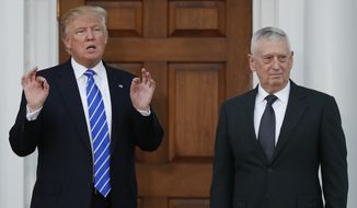 President-elect Donald Trump calls out to media as he stands with retired Marine Corps Gen. James Mattis at Trump National Golf Club Bedminster clubhouse in Bedminster, N.J., Saturday, Nov. 19, 2016. (AP Photo/Carolyn Kaster)