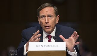 David Petraeus testifies on Capitol Hill in Washington in this Sept. 22, 2015, file photo. (AP Photo/Evan Vucci, File)