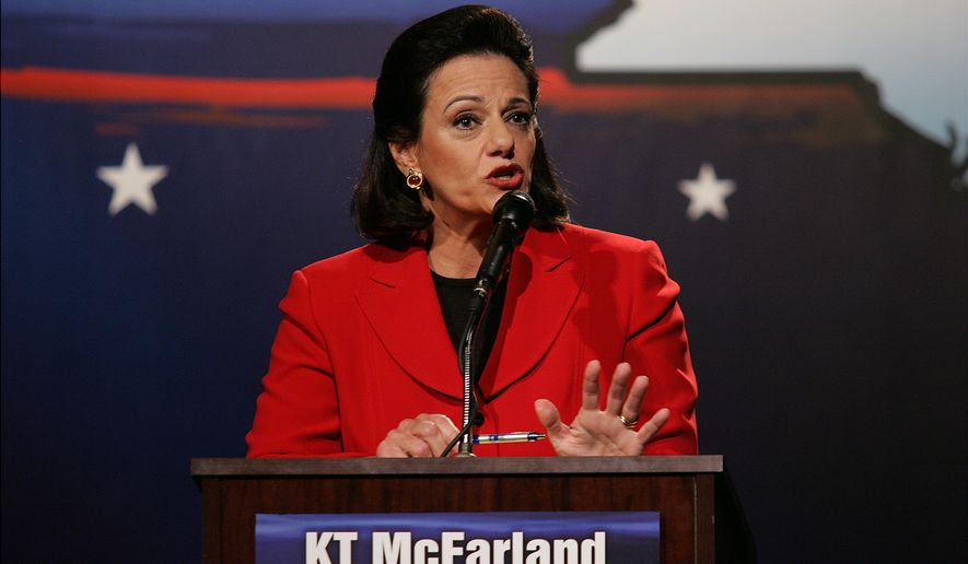 """Candidate Kathleen Troia """"KT"""" McFarland debates against John Spencer for the republican Senate nomination, on the campus of Pace University in New York on Wednesday, Aug. 9, 2006.  (AP Photo/Angel Chevrestt, Pool)"""