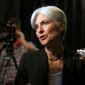 Green party presidential candidate Jill Stein answers questions from members of the media during a campaign stop at Humanist Hall in Oakland, Calif. on Oct. 6, 2016. (Associated Press) **FILE**