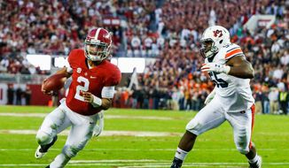 Alabama quarterback Jalen Hurts and the Crimson Tide are riding the third-longest winning streak in both school and SEC history. (Associated Press)