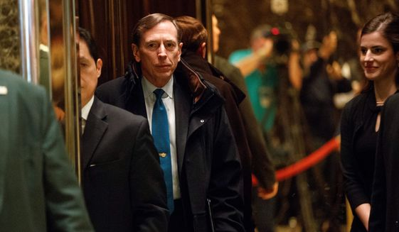 Former CIA director retired Gen. David Petraeus (left) and former Massachusetts Gov. Mitt Romney are contenders for secretary of state in the Trump administration. (Associated Press photographs)