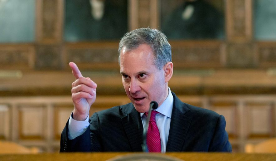 New York Attorney General Eric Schneiderman speaks during Law Day at the Court of Appeals in Albany, N.Y., on May 2, 2016. (Associated Press) **FILE**