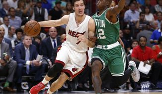 Miami Heat guard Goran Dragic (7) drives to the basket against Boston Celtics guard Terry Rozier (12) during the first half of an NBA basketball game, Monday, Nov. 28, 2016, in Miami. (AP Photo/Wilfredo Lee)
