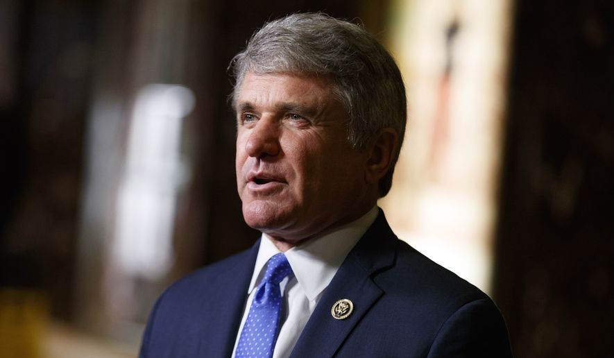 Rep. Michael McCaul, R-Texas, talks with reporters after a meeting with President-elect Donald Trump at Trump Tower, Tuesday, Nov. 29, 2016, in New York. (AP Photo/Evan Vucci) ** FILE **