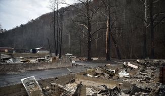The remains of Creek Place Efficiencies are seen after a wildfire in Gatlinburg, Tenn., Wednesday, Nov. 30, 2016. Tornadoes that dropped out of the night sky killed several people in two states and injured at least a dozen more early Wednesday, adding to a seemingly biblical onslaught of drought, flood and fire plaguing the South. (Andrew Nelles/The Tennessean via AP)