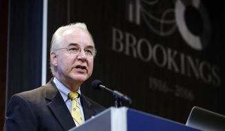 """House Budget Committee Chairman Tom Price, R-Ga., President-elect Donald Trump's choice for Health and Human Services Secretary, delivers the keynote address at an event hosted by the Brookings Institution entitled """"A Reform Agenda for the Federal Budget Process,"""" Wednesday, Nov. 30, 2016 in Washington. (AP Photo/Alex Brandon)"""